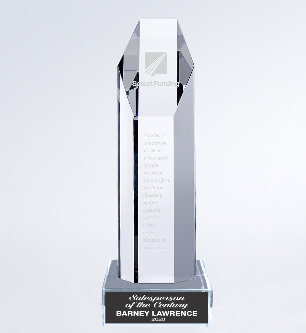 Crystal Hexagon Tower Trophy Award - 12