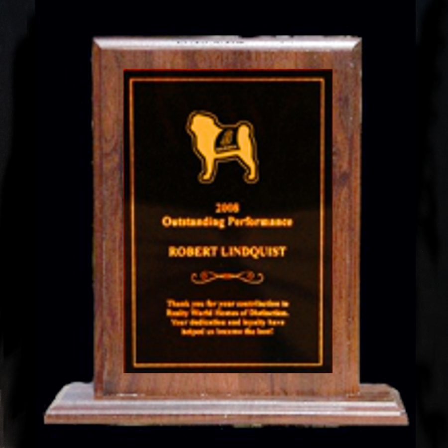 Walnut Stand-Up Plaque - Full Metal Engraved Plate
