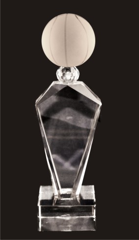 Deco Basketball Crystal Trophy Award (FOUR SIZES)