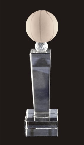 Tower Basketball Crystal Trophy Award (FOUR SIZES)