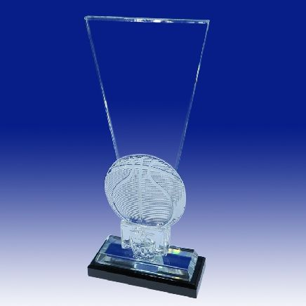 Cut Crystal Basketball Keystone Trophy Award - 10