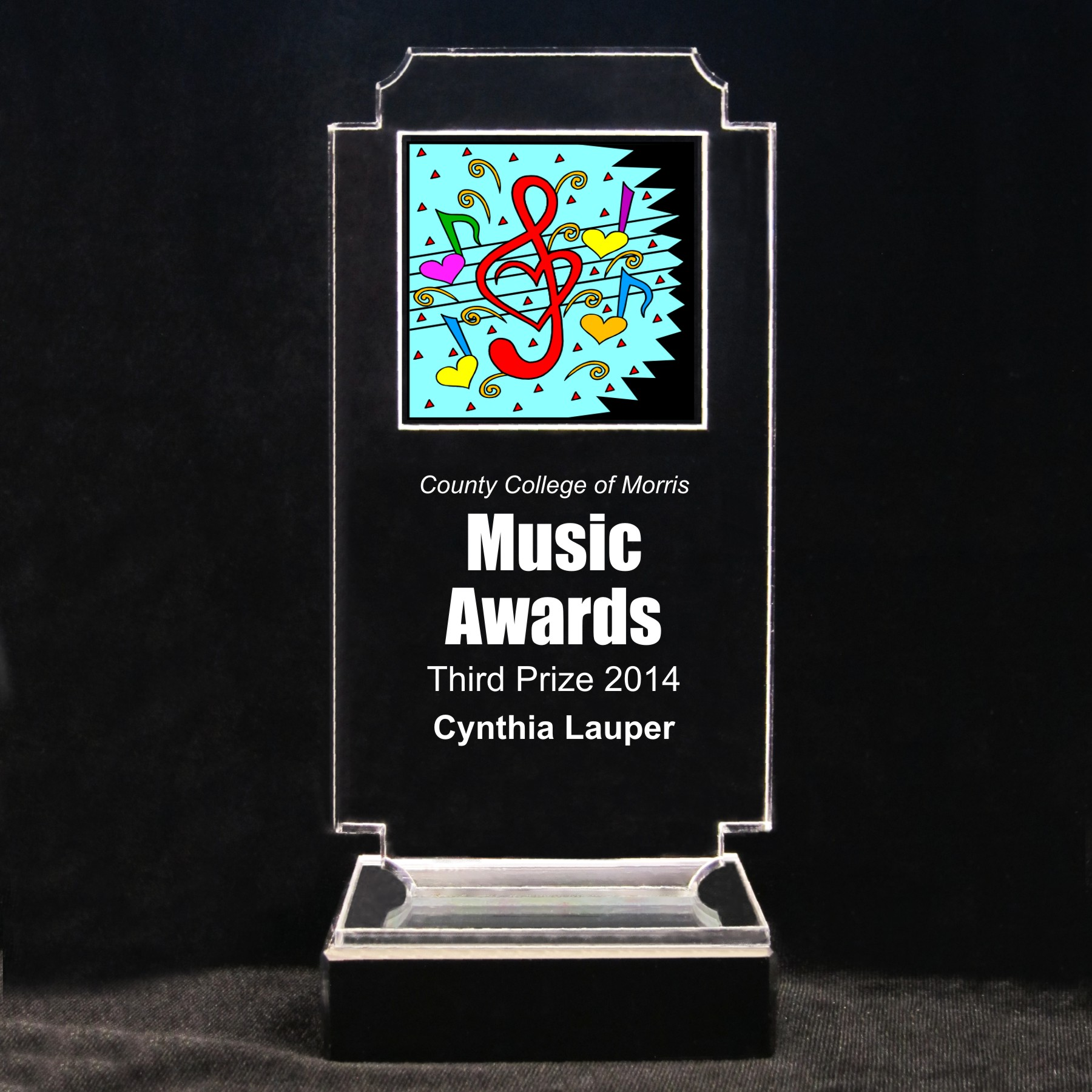 Retro Music Acrylic Full-Color Trophy - Musical Love Notes