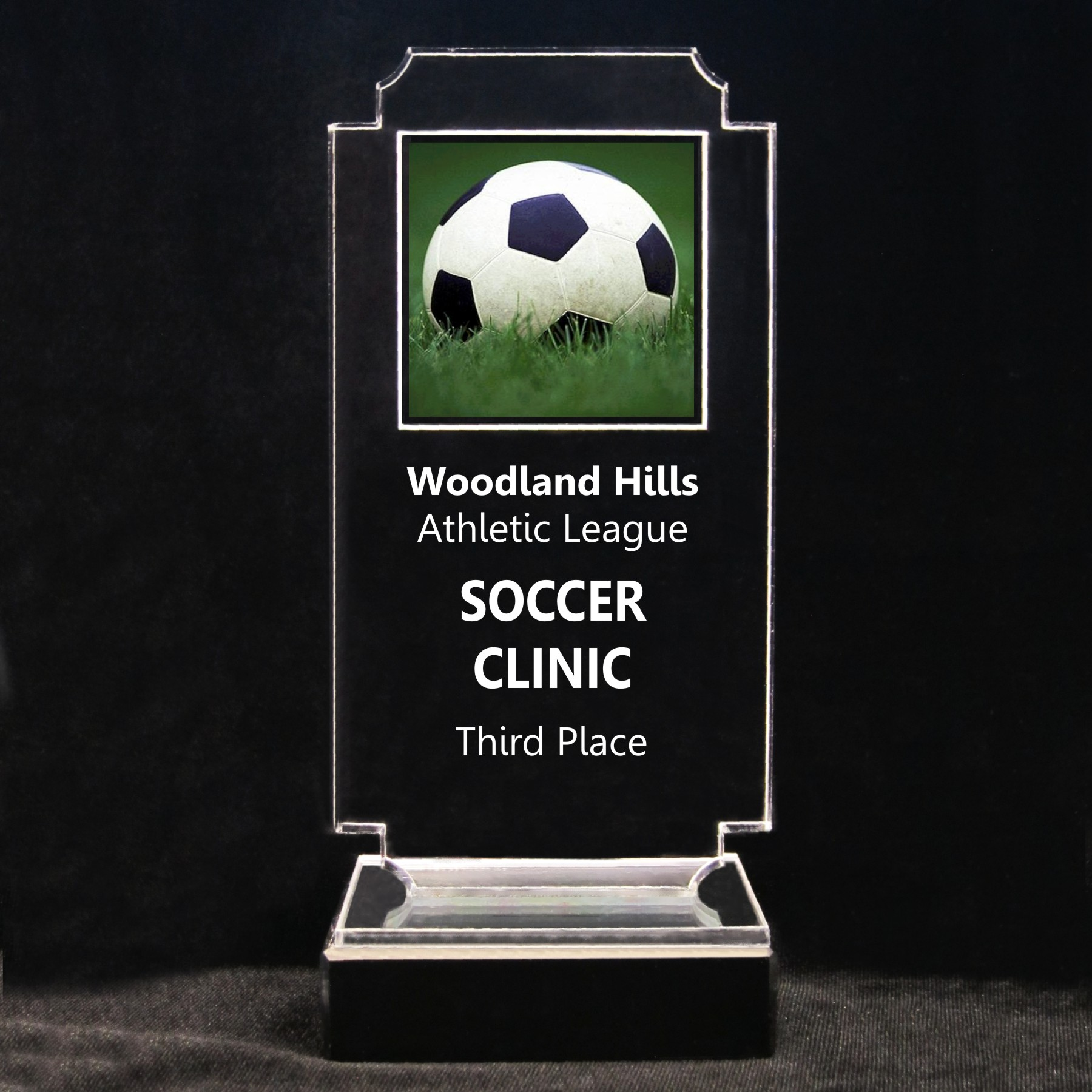 Retro Soccer Acrylic Full-Color Trophy - Soccer Ball