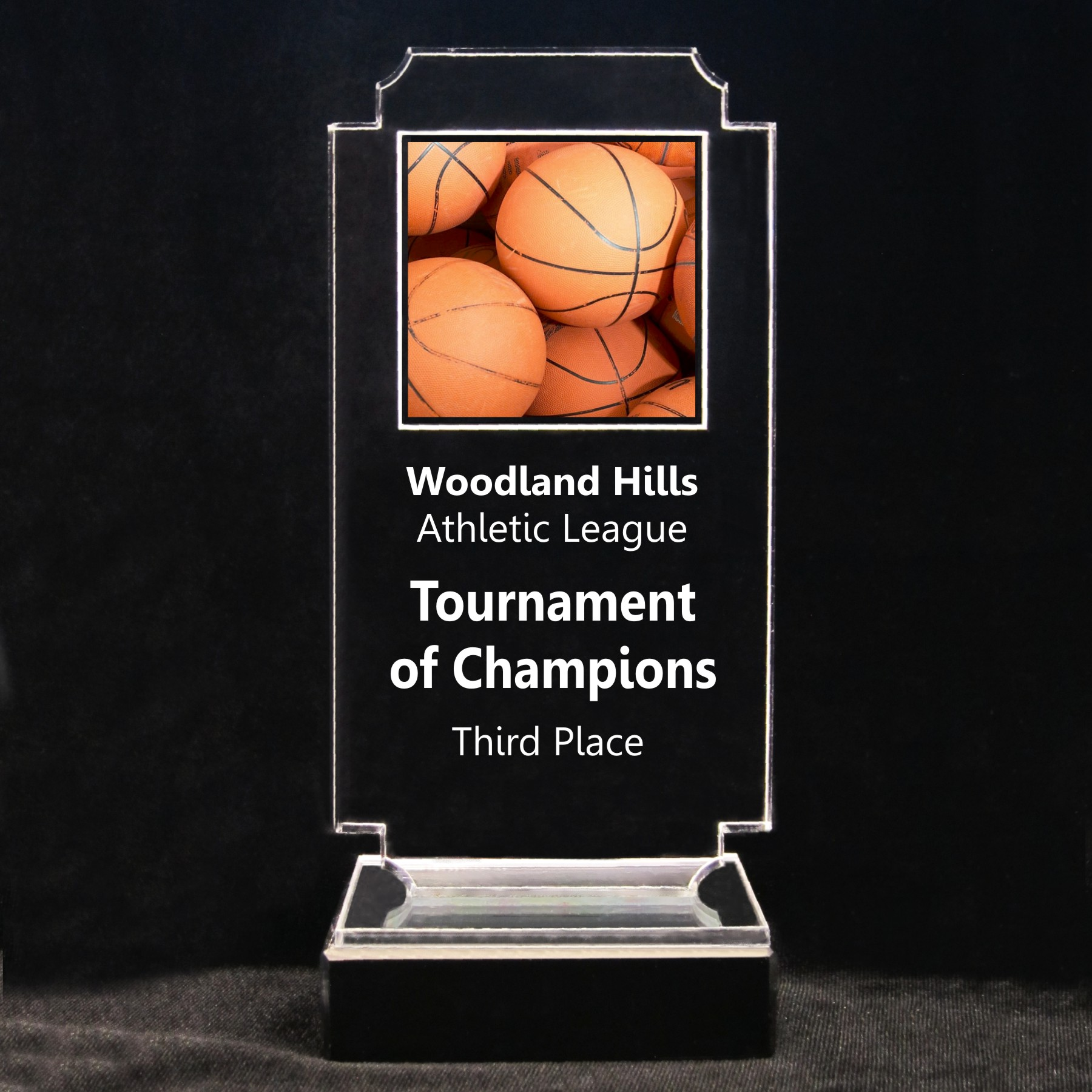 Retro Basketball Acrylic Full-Color Trophy - Multiple Basketballs