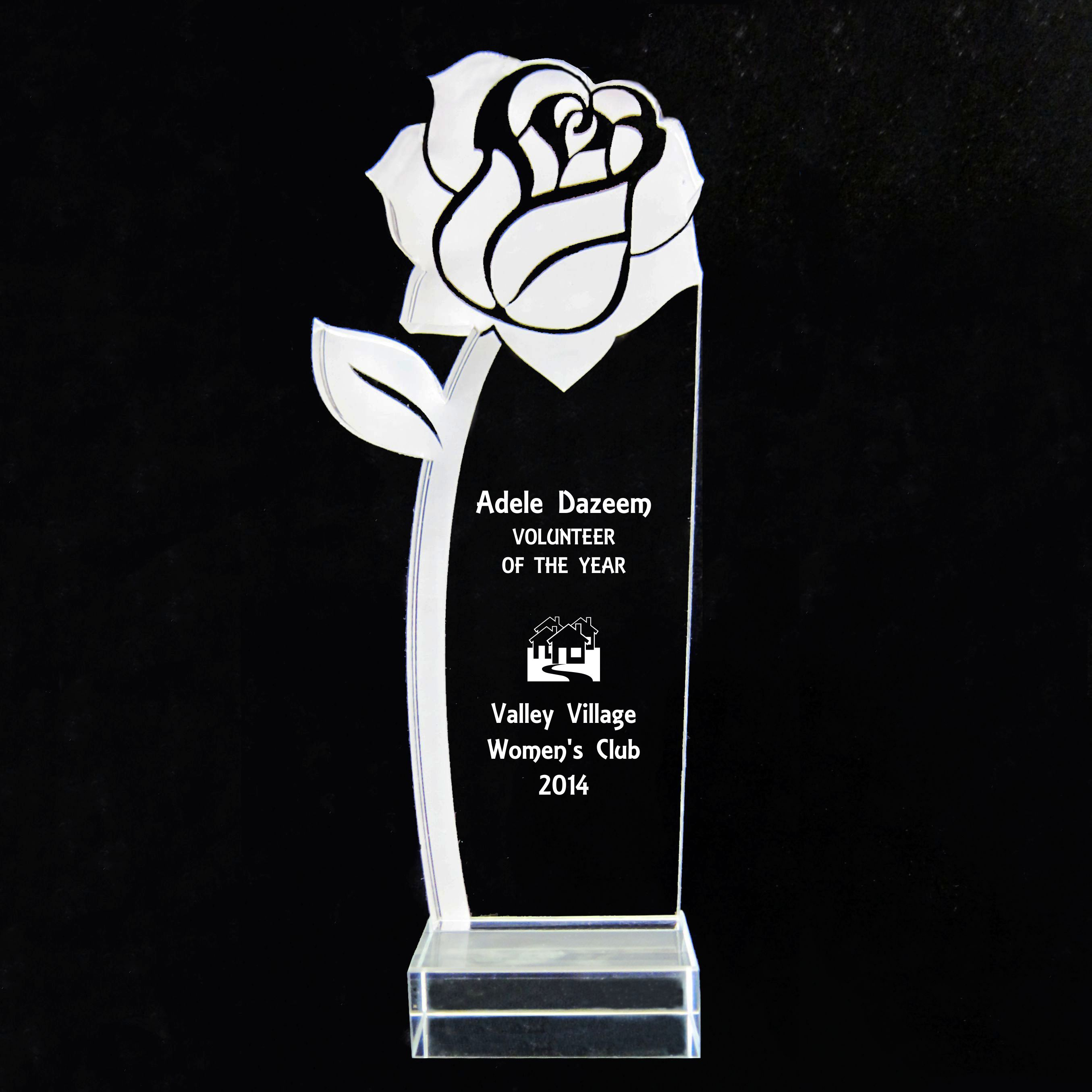 The Rose Acrylic Trophy Award - 9-1/2''