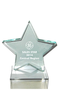 Jade Star Glass Trophy Award- 5-1/4''