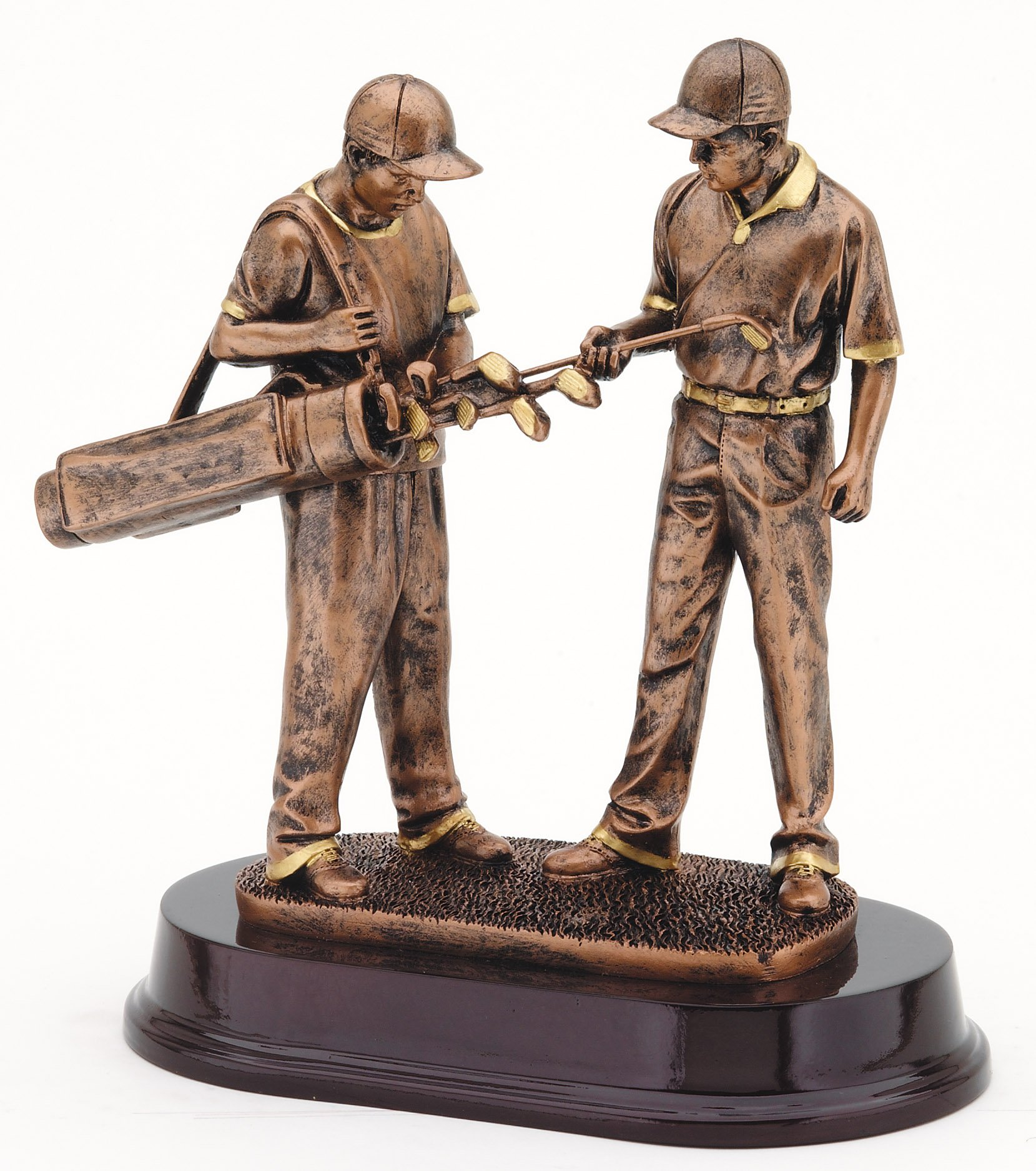 Golfer and Caddy Bronze Resin Trophy Award - 9.5