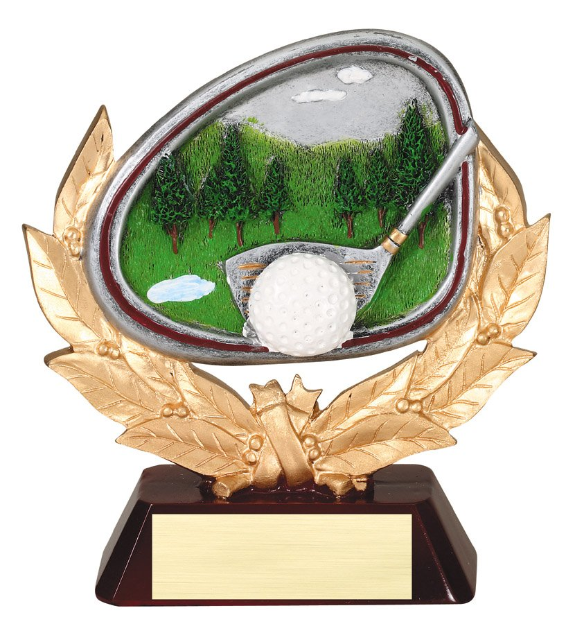 Golf Course Gold & Full Color Resin Trophy Award