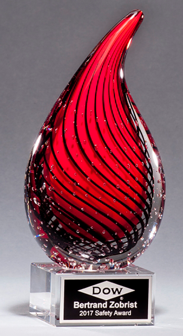 Red Drop Color Crystal Trophy Award