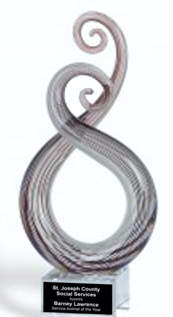 Pink Twist Color Crystal Trophy Award