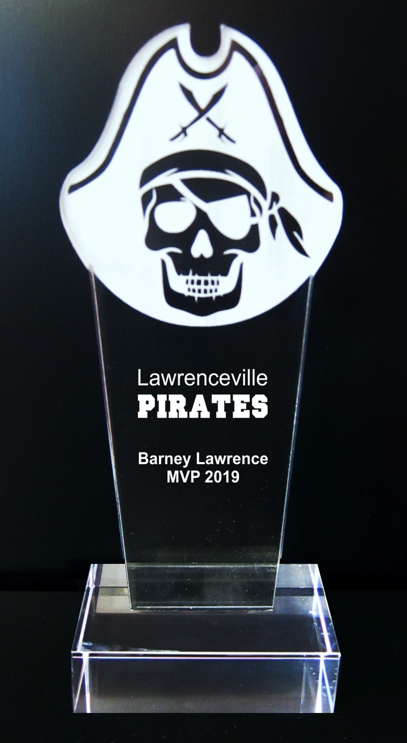 Pirate Mascot Acrylic Trophy Award - 9-1/2''