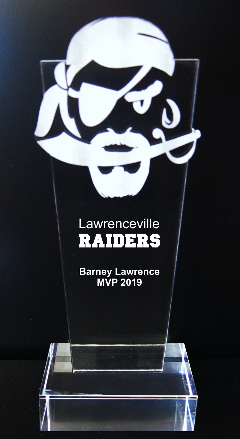 Raider Buccaneer Pirate Mascot Acrylic Trophy Award - 9-1/2''