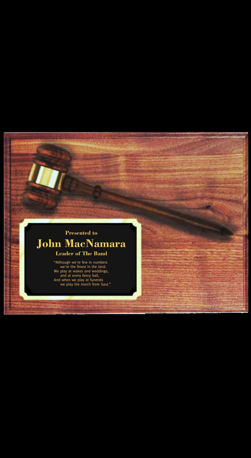 Genuine Walnut Plaque - Gavel and Metal Plate - 9