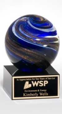 Blue Marble Crystal Globe Trophy Award