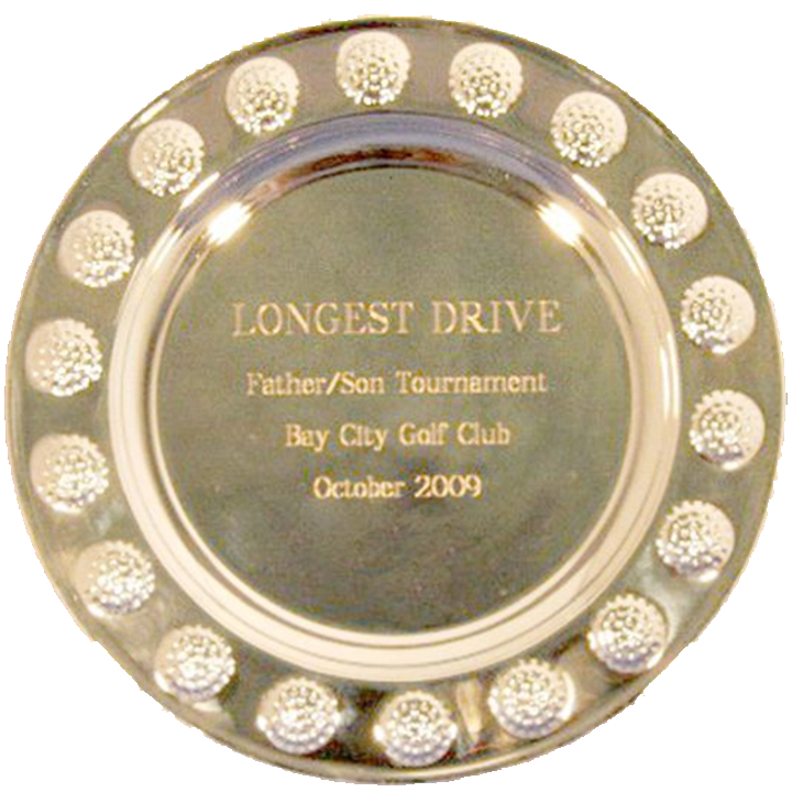 Silver Tray  with Golf Ball Border Trophy Award (THREE SIZES)