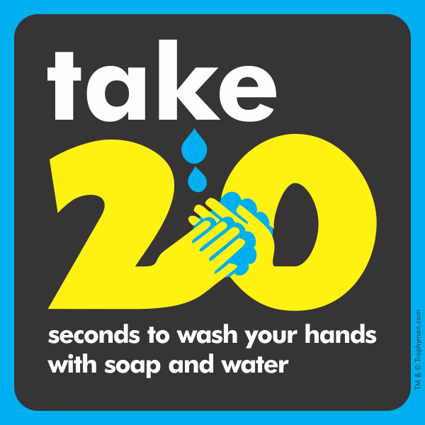 Coronavirus Hand Washing Sign - Take 20 Seconds to Wash (TWO DESIGNS)