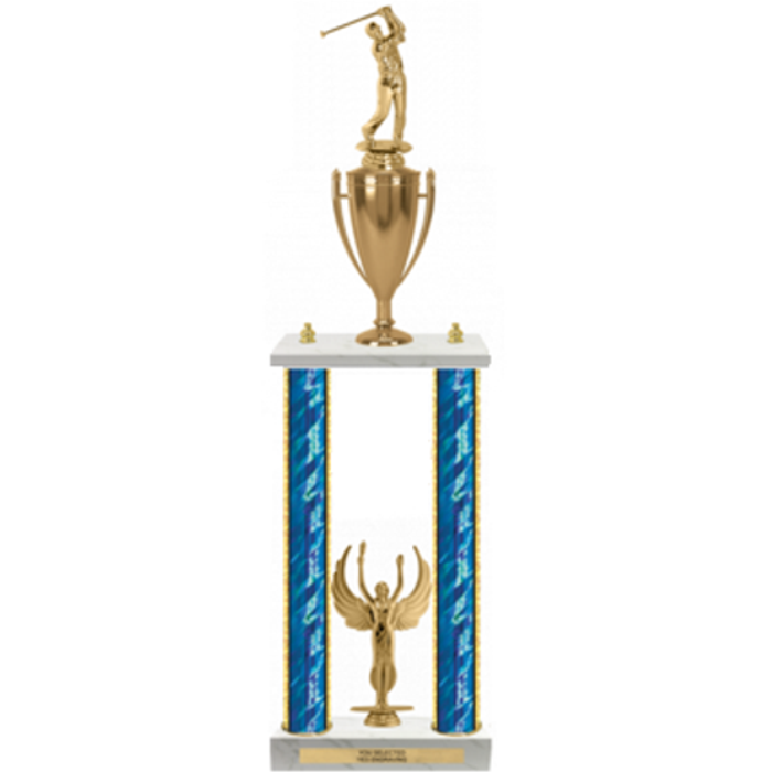 Two-Column, Two-Level Trophy with Gold Cup, Multiple Figures and Trim -  24''