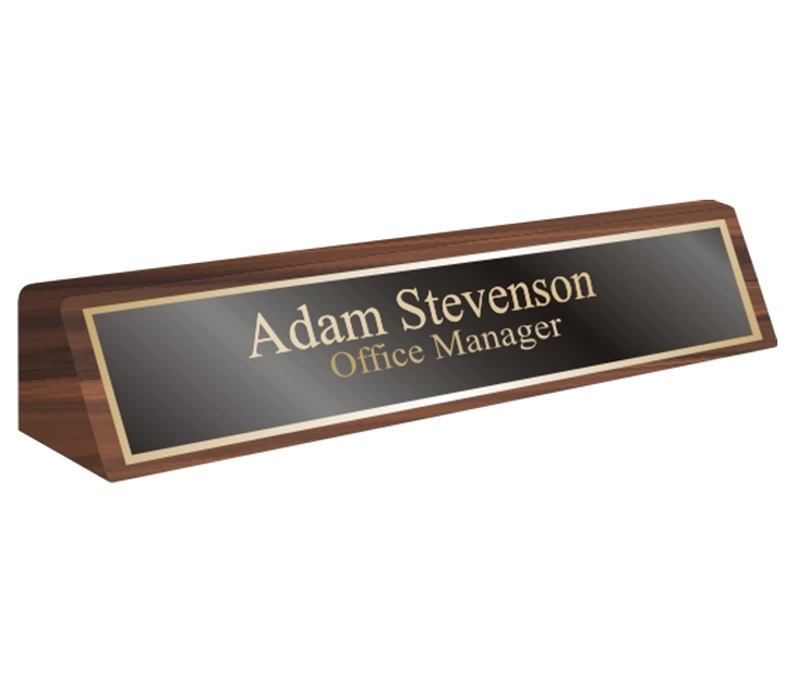 Walnut Desk Name Plate Holder Stand