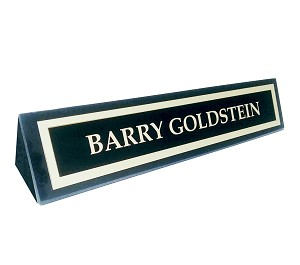 Black Marble Desk Name Plate Holder Stand with Metal Name Plate