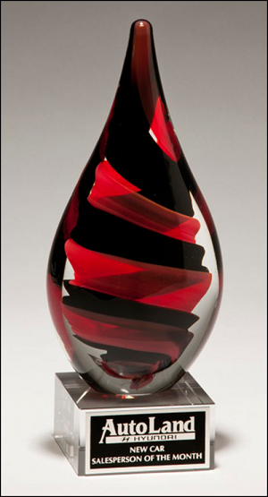 Color Crystal Red & Black Helix Trophy Award