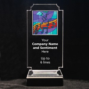 Retro Music Acrylic Full-Color Trophy - Free Form Musical Notes