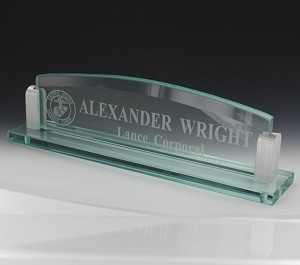 Glass Name Plate Holder Stand with Glass Engraved Name Plate