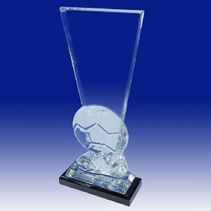 Cut Crystal Soccer Ball Keystone Trophy Award - 10