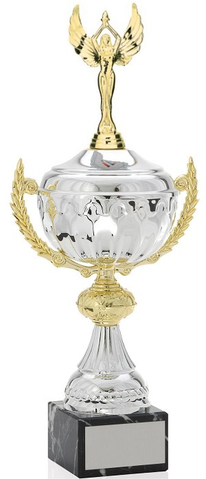 Victory Silver Metal Cup Trophy with Figurine (THREE SIZES)