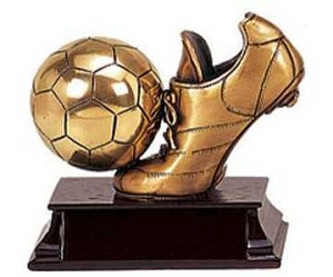 Brass Soccer Ball and Shoe Trophy Award - 4