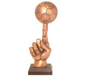 Bronze Soccer Ball on One Finger Trophy Award - 13''