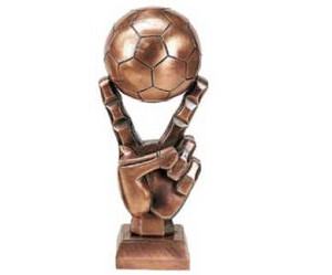 Large Bronze Soccer Ball with Victory Fingers Trophy Award -20''