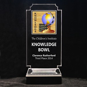 Retro Scholastic Acrylic Full-Color Trophy - Knowledge