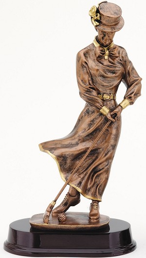 Vintage Bronze Female Golfer Resin Trophy Award - 13