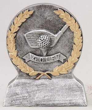 Golf Tee Off Gold & Silver Resin Trophy Award