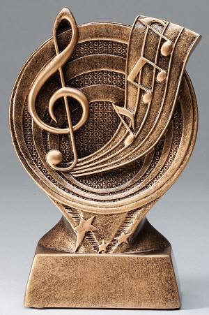 G-Clef Music Bronze Rings Resin Trophy Award - 6