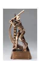 Softball Female Ultra Action Bronze Resin Trophy Award - 6-1/2