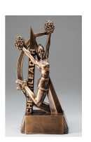 Ultra Action Female Cheerleader Bronze Resin Trophy Award - 6.5''