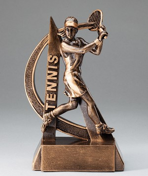 Female Tennis Ultra Action Bronze Resin Trophy Award - 6.5
