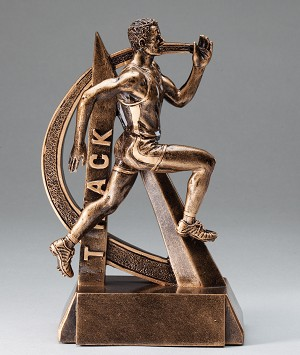 Male Track Ultra Action Bronze Resin Trophy Award - 6-1/2