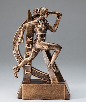 Female Track Ultra Action Bronze Resin Trophy Award - 6-1/2