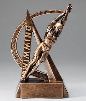 Male Swimming Ultra Action Bronze Resin Trophy Award - 6-1/2
