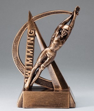 Female Swimming Ultra Action Bronze Resin Trophy Award - 6-1/2