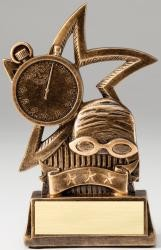 Swimming Star Bronze Resin Trophy Award - 6''