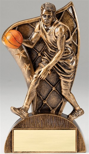 Basketball Flag Male Bronze Resin Trophy Award - 6 1/2''