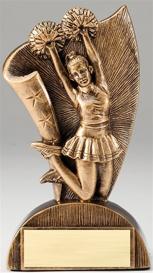 Cheerleading Flag Bronze Resin Trophy Award - 6 1/2''