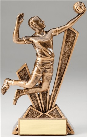 Male Volleyball Checkmate Bronze Resin Trophy Award - 6-1/2''