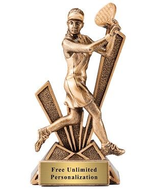 Female Tennis Checkmate Bronze Resin Trophy Award - 6 1/2