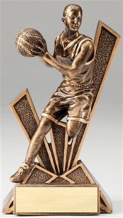 Basketball Female Checkmate Bronze Resin Trophy Award - 6 1/2''