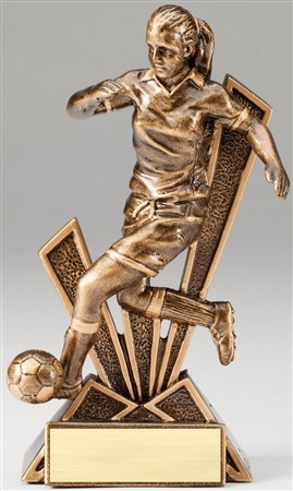 Female Soccer Checkmate Bronze Resin Trophy Award - 6 1/2''