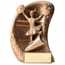 Cheerleading Swoosh Bronze Resin Trophy Award - 5 1/2''